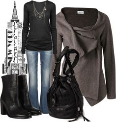 """""""Fall Style Charcoal and Black"""" by anne-ratna on Polyvore"""