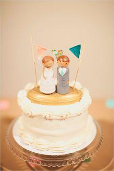 cute wooden wedding cake topper