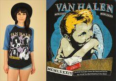 ViNtAgE Van Halen 1984 T-Shirt // Black & Blue by hellhoundvintage