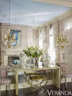 South Shore Decorating Blog: White and Neutral Rooms with Pops of Color and Gold GORGEOUS ANT. MIRRORED WALL