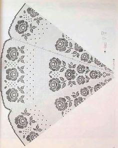 Круглая филейная скатерть с розами схема 2