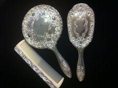 Fine English Fragrances - The Manor Vanity Set Vanity Set, Mirror Vanity, Vintage Silver, Fragrances, Tableware, English, Beautiful, Brazilian Blowout, Silver