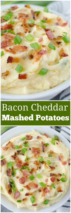 Bacon Cheddar Mashed Potatoes - the perfect side dish for every meal! These potatoes are loaded with sour cream, cheddar cheese, bacon, and green onions!