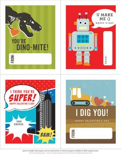 Valentine's Day can have a certain girlie feel to it, but with One Charming Party's School Boy Valentines, it's all boy! Print the free download, and get your tot practicing his penmanship as he addresses the robots, dinos, and trucks to his friends. Source: One Charming Party