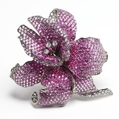 Pink sapphire and diamond Flower Brooch by Rina Limor