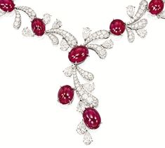 "Detail shot of necklace from the ruby and diamond ""fireworks"" set by James W. Curren for Faidee. Via Diamonds in the Library."