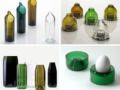Photo Karaf / theelichthouder / vaas / eierdopje te koop bij Rewind Design bottle / reuse / recycle / ecodesign / gadget / ecological / waste / materials / interior / vase / carafe / canister / eggcup / tea light holder /