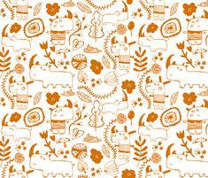 happy orange cuties fabric by laura_the_drawer on Spoonflower - custom fabric ~ NUMBER 4 of the Rhinoceros Contest. Congratulations Laura! :-)