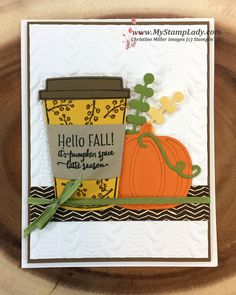 Merry Café, Painted Autumn dsp, Cable Knit embossing folder, Patterned Pumpkins Thinlits, Coffee Cups Framelits - all from Stampin' Up! Atc Cards, Stampin Up Cards, Craft Cards, Greeting Cards, Thanksgiving Cards, Holiday Cards, Halloween Cards, Fall Halloween, Chocolate Card