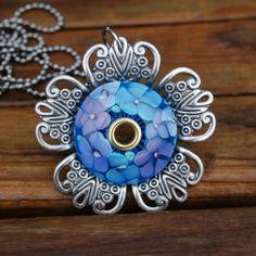 Tranquil Garden Pendant 24 Necklace KO Lampwork Beads by koregon, $32.99