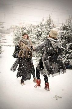 Fun in the snow. You're never too old.