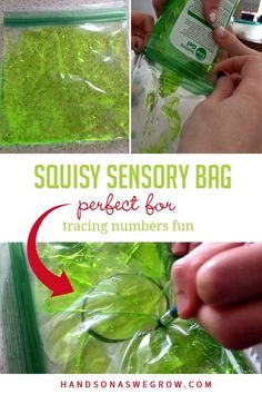 Check out these squishy sensory bags for tracing numbers! Make practicing writing skills a fun sensory experience with everyday supplies. Outdoor Activities For Kids, Creative Activities, Hands On Activities, Sensory Activities, Learning Activities, Preschool Activities, Learning To Write, Learning Through Play, Sensory Bags