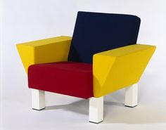 Ettore Sottsass designed this chair 'Westside Lounge' for the firm Memphis. This armchair reflects the Memphis style with the old primary colours.  Many of the product the Ettore have design are not very detail based as the main focus are the shapes and the colours itself rather then finer details within the shapes or product