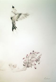 ARTFINDER: Bird and Flowers by Kellas Campbell - I used pencil to draw this humming bird flying up after having some nectar, and added ink with a calligraphy brush to emphasise the dark tips. I also used p...