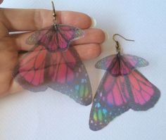 I Will Fly Away - Handmade Fantasy Rainbow and Pink Monarch Silk Organza Butterfly Wings Earrings - One of a Kind by TheButterfliesShop on Etsy