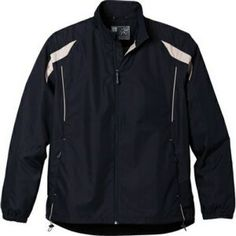 Promotional Custom Printed Meru Jacket (Imprinted)   #corporatejacketswithlogo #corporateleatherjacketswithlogo. This jacket features a dropped back hem with colorblocking and diminishing contrast piping that shows you care about how you look. However, elasticized cuffs that keep wind out along with a water repellent finish shows that you're practical about comfort. Center front exposed reversed coil zipper. Interior storm flap with chin guard.