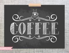 Chalkboard Coffee Print Illustrated by LittleDearPrints on Etsy, $10.00