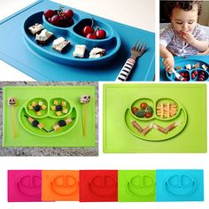 3 Grids Silicone Baby Dishes for Children Training Baby Placemat Infant Plate Tableware Multicolor Silicone Baby Plate