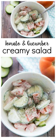 This tomato and cucumber summer salad is delicious and creamy - perfect for a BBQ or potluck!