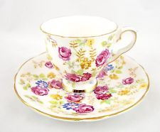 Royal Stafford England Bone China Chintz JUNE ROSES Demitasse Cup and Saucer
