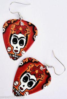 Day of The Dead Frida Kahlo Guitar Pick Earrings Rockabilly Sugar Skull Muertos   eBay