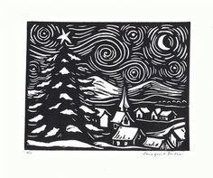 Starry Night Linoleum Block Print