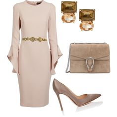 A fashion look from February 2018 featuring Tom Ford dresses, Gianvito Rossi pumps and Gucci shoulder bags. Browse and shop related looks.