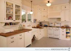Wood on white, under sink doors, little shelf under cabinets.
