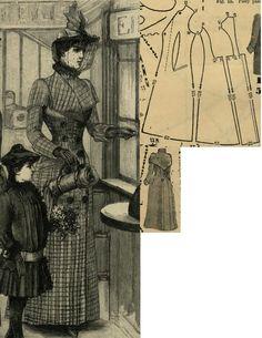 Tygodnik Mód 1889.: Traveling coat from grey checked cheviot.