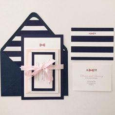 Preppy Bow with Stripes Wedding Invitation Sample by AmandaDayRose, $6.00