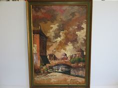 Signed Abstract By Bernard, Mid-Century Modern Cityscape Scene With Canal And Bridge In The For Ground. by FLORIDAMODERN on Etsy