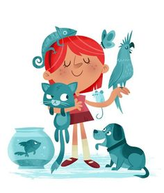 Lee Cosgrove's little pet lover is in her element! http://ow.ly/SlX2E  #illustration #kidlitart