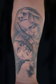 Virgin Mary and Jesus Tattoo by Luke Stewart #Tattoos #Jesus #VirginMary #Religious #Christian