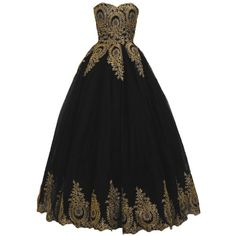 Tulle Quinceanera Ball Gown Gold Appliques Sweet 16 Prom Princess... ($80) ❤ liked on Polyvore featuring dresses, gowns, gold ball gown, gold quinceanera dresses, long gold dress, gold dress and long evening gowns