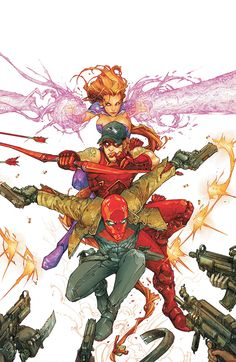 Red Hood, Arsenal, and Starfire, the Outlaws of the DC Universe