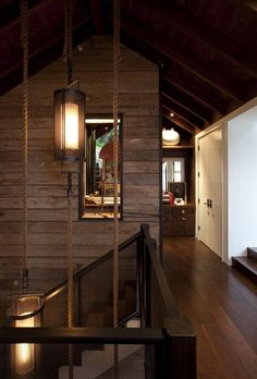 Because I love cabin homes, I can so easily picture this in my future place... love the ropes!