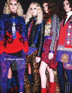The ethnic prints of the #JustCavalli FW 2013 collection in this beautiful backstage shot by Elle Belgium, August 2013 issue.