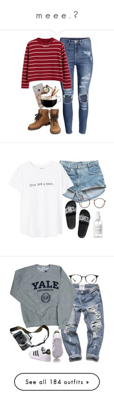 """""""m e e e . ♡"""" by an-other ❤ liked on Polyvore featuring H&M, Chicnova Fashion, Luminarc, Chanel, MANGO, Linda Farrow, French Girl, Eos, Ray-Ban and adidas Originals"""