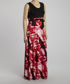 Another great find on #zulily! Black & Red Abstract Sleeveless Maxi Dress - Plus #zulilyfinds