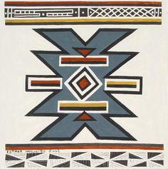 Art Exhibition ESTHER Mahlangu 2003 African Tribes, African Art, Africa Symbol, Loom Patterns, Geometric Patterns, African House, Tiki Decor, Xhosa, Geometric Painting