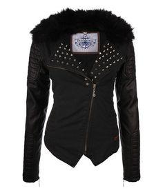 Loving this Black Spike Zip-Up Jacket on #zulily! #zulilyfinds