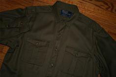 POLO RALPH LAUREN Military-style Wool camp SHIRT-M-distress / epaulets / FREE SHIP