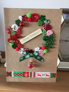 Homemade Christmas card New Year Cards Handmade, Christmas Cards Handmade Kids, Diy Christmas Gifts For Friends, Christmas Card Crafts, Homemade Christmas Cards, Kids Christmas, Button Christmas Cards, Christmas Gift Card Holders, Christmas Greeting Cards