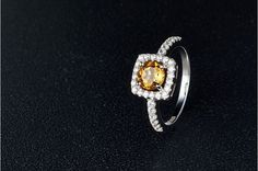 Trendy Square Natural Citrine Finger Ring, with 925 Sterling Silver and Micro Pave AAA Zircon, Platinum