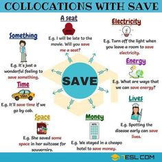 Common English Collocations with the Word SAVE - ESLBuzz Learning English English Tips, English Fun, Learn English Words, English Study, English Lessons, Teaching English Grammar, English Writing Skills, English Vocabulary Words, English Language Learning