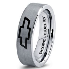 Silver Tungsten Ring with Flat Edge Brushed Finish 6mm Tungsten Wedding Band Chevy Bowtie Ring Chevrolet Ring Chevy Ring