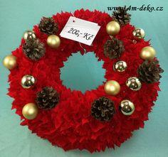 Vypichovaný látkový adventní věnec červený. Christmas Wreaths, Holiday Decor, Home Decor, Decoration Home, Room Decor, Home Interior Design, Home Decoration, Interior Design