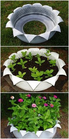 DIY Homemade Flower Tire Planter - DIY Tire Planters - Easy tutorial to make a white flower planter with a tire. Get a large old tire. Cut it using a utility knife.straight slits about six inches apart and five–six inches long, working from the center hole toward the outer edge. It took a very long time. I was cutting through rubber and steel. Make...