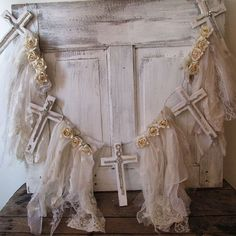 Large cross garland French Nordic white and by AnitaSperoDesign