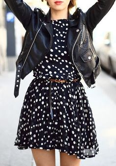 #street #style / polka dot + leather